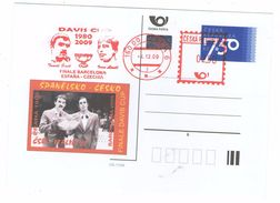 Czech Republic 2009 - Davis Cup, Spain V. Czech Rep.,  Special Stationery And Cancellation - Tennis