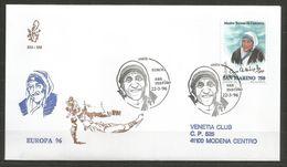 1996 MADRE TERESA EUROPA   San Marino FDC  Venetia Viaggiata - FDC