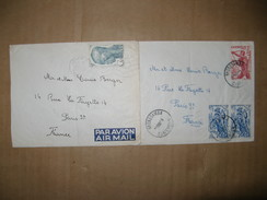 LOT DE 2 LETTRES CAMEROUN POSTEE  LE 20/5/1953 DE NKONBSAMBA & 18/8/53 DOUALA 4 TIMBRES OBLITERES - Briefe U. Dokumente
