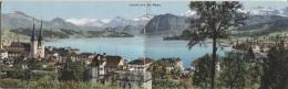 CPA - LUZERN - UND DIE ALPEN - CARTE PANORAMIQUE - Edition E.Götz - LU Lucerne