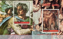 Michelangelo 1972 Ajman Block 439+Bl.483 O 15€ Jüngstes Gericht Hl. Petrus Freske Jesaja Ss Art Blocs Sheets Bf VAE - Religion