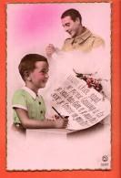 IBZ-17  Un Enfant écrit à Son Père Au Front, Militaire. Circulé Sous Enveloppe. Petite Cassure Angle - Patriotic