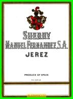 ETIQUETA -  BODEGAS MANUEL FERNANDEZ S.A..  JEREZ DE LA FRONTERA - Etiquetas