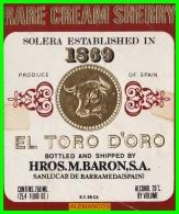 ETIQUETA -  BODEGAS  Hros .M.BARON S.A. ..  SANLUCAR DE BARRAMEDA - Etiquetas