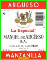 ETIQUETA -  BODEGAS  MANUEL DE ARGÜESO  S.A. ..  SANLUCAR DE BARRAMEDA - Etiquetas