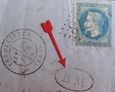 LOT R1495/5 - NAP III Lauré N°29B (fragment) GC 2718 LES OLLIERES (Ardèche) INDICE 8 - BM (BOITE MOBILE) - 1863-1870 Napoleon III With Laurels