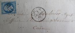 LOT R1495/9 - NAPOLEON III N°22 (LSC) GC 1348 : DOZULE (Calvados) INDICE 5 à CAEN (Calvados) - Cote : 25,00 € - 1862 Napoleone III