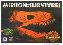 """Carte Postale édition """"Promocartes"""" - Mission : Survivre ! (jeu Vidéo) Jurassic Park Le Monde Perdu (PlayStation) - Publicité"""