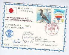 1991 SIGNED SAGA KYUSHU Japan  BALLOON FLIGHT COVER Card Ballooning Stamps - Transport