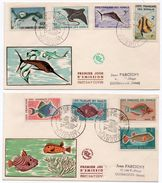 COTE FRANCAISE DES SOMALIS / DJIBOUTI 1959 - LOT N.2 FDC FAUNE MARINE / FISHES - Lettres & Documents