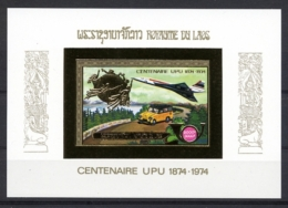 Laos, 1975, UPU Centenary, United Nations, Concorde, MNH Gold Imperforated, Michel Block 63B - Laos