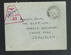 1942 England FPO 164 Cyprus Cover To Jerusalem Palestine RAF Censorship - Postmark Collection