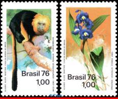 Ref. BR-1438-39 BRAZIL 1976 ANIMALS & FAUNA, NATURE PROTECTION, ORCHID, AND MONKEY, MI# 1534-35, MNH 2V Sc# 1438-143 - Brazil