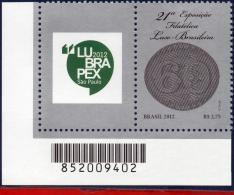 Ref. BR-3222-1 BRAZIL 2012 PHILATELY, EXHIBITION LUSO-BRASILIAN, , STAMP ON STAMP, WITH LABEL MNH 1V Sc# 3222 - Unused Stamps