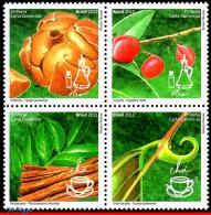 Ref. BR-3223 BRAZIL 2012 FLOWERS & PLANTS, MEDICINAL PLANTS, OIL AND, TEA, PHYTOTHERAPY, SET MNH 4V Sc# 3223 - Unused Stamps