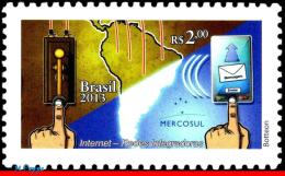 Ref. BR-3243 BRAZIL 2013 - INTEGRATIVE NETWORKS,, MERCOSUL, INTERNET, MAPS, MNH, COMPUTERS 1V Sc# 3243 - Brazil