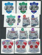 Tonga 1977 Silver Jubilee Set Of 13 Self Adhesives MNH , 20s Postage With Tiny Backing Paper Fault - Tonga (1970-...)