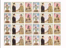 FUJEIRA 1972 Nixon Mao Tse Tung IMPERF.sheetlet:24 Stamps [non Dentelé, Geschnitten,no Dentado] - Buddhism