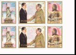 FUJEIRA 1972 Nixon Mao Tse Tung IMPERF.CORNER PAIRS (6 Stamps) [non Dentelé, Geschnitten,no Dentado] - Buddhism