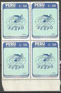 Peru - 1989 Postal Services Block Of 4 MNH **      Sc 952 - Peru