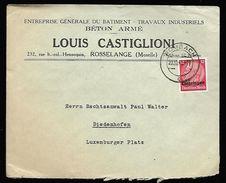 Lettre De Forbach  Du 20 Octobre  1941   Vers  Thionville - Elzas-Lotharingen