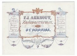 Carte Porcelaine Lithographiée (19e S.) / Porseleinkaart / BRUGGE SINT ANDRIES / F.J.AERNOUT/ TISSUS COTONNADES - Brugge