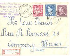 4080  MECHELEN Lettre Recommandée Vers France Commercy Meuse  RADIOSTATION ONL 607 Ob 12 9 1953 Baudoin 4 F Bleu 10 F - Cartas