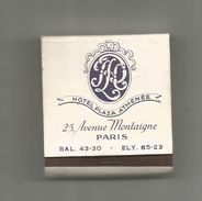 Tabac , Boite, Pochette D'ALLUMETTES, 2 Scans, Publicité, Hotel PLAZA ATHENEE , PARIS - Matchboxes