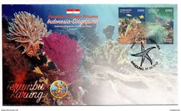 INDONESIA 2017-10 JOINT ISSUE W/ SINGAPORE MARINE LIFE CORAL FDC STAMPS MNH - Indonésie