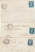 Allier - 3 Devants De Lettres (ou Grand Fragment) Bourbon L'Archambault PC461 Sur N°14 - Marcophilie (Lettres)