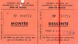 VP10.757 - Ticket / Billet Du Chemin De Fer De CHAMONIX Au MONTENVERS ( Mer De Glace ) - Chemins De Fer