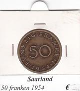 SAARLAND   50 FRANKEN   ANNO 1954  COME DA FOTO - Saarland