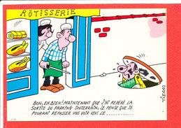 ROTISSERIE  Illustrateur TIENNO Cp Humour  Animée Au Verso Avis De Passage Deroche CHARENTON - Shops