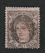 SPAGNA 1870 - Testa Allegorica Della Spagna - 2 M.negro S. Salmon - MH - Yt:ES 103 - 1870-72 Reggenza