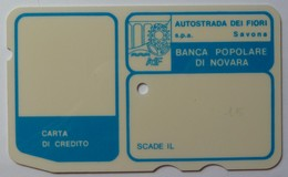 ITALY - Autostrada - Bank Credit Card - 1973 - Banca Popolare Di Novara - Large Font - Used - Credit Cards (Exp. Date Min. 10 Years)