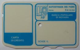 ITALY - Autostrada - Bank Credit Card - 1973 - Banca Popolare Di Novara - Small Font - Used - Credit Cards (Exp. Date Min. 10 Years)
