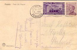 1927 Cartolina Da Venezia Per Cecoslovacchia Con S.Francesco 40c  017 - 1900-44 Vittorio Emanuele III