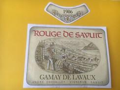 5155 - Rouge De Savuit 1984 Gamay De Lavaux André Chevalley Suisse - Etiquettes