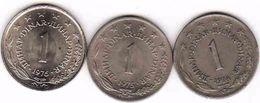 Yugoslavia 3 X 1 Dinar 1974, 1975, 1976 - Yugoslavia