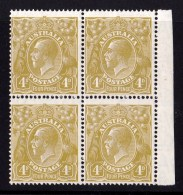 Australia 1928 King George V 4d Olive Small Multi Wmk P14 Block Of 4 MNH-MH - 1913-36 George V: Heads