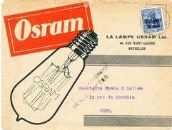 557/25 - THEME LAMPES/AMPOULES - Belgique 14/18 Lettre TB Illustrée OSRAM Bruxelles Vers MONS + Censure - Timbres
