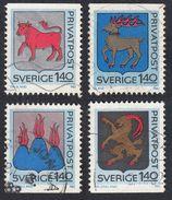 SWEDEN - SVEZIA -  SVERIGE - 1982 - Serie Completa Usata Yvert 1171/1174; 4 Valori, Stemmi Delle Province. - Gebraucht