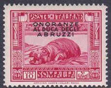 Italy-Colonies And Territories-Somalia S190 1934 Honouring The Duke Of Abruzzi 10 Lire Red Hippopotamus, MH - Somalie