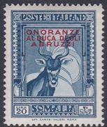 Italy-Colonies And Territories-Somalia S191 1934 Honouring The Duke Of Abruzzi 20 Lire Grey Blue Lesser Kudu, MH - Somalia