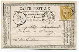 Carte Précurseur CPO : Cad Ambulant BELFORT A PARIS + Losange BELP Sur Ceres 15c / 1874 - 1849-1876: Période Classique