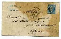 Poste Maritime /  T15 MARSEILLE BATEAU A VAPEUR  + Losange GC 5005 Sur Lettre Pour ALGER / 1867 - Marcophilie (Lettres)