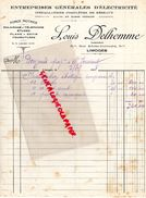 87 - LIMOGES - FACTURE LOUIS DELHOMME -INGENIEUR 51 RUE ADRIEN DUBOUCHE- ELECTRICITE FORCE MOTRICE- 1928 - Electricity & Gas
