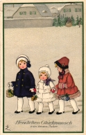 Neujahr, Kinder, Sign. Künstlerkarte, Verlag Meissner & Buch Leipzig, 1927 - Nouvel An