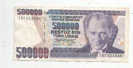 BILLET , TURQUIE , 500000 Türk Lirasi , 1970 , 2 Scans , Türkiye Cumhuriyet Merkez Bankasi - Turquie