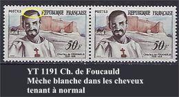 """FR Variétés YT 1191 """" Ch. De Foucauld """" Mèche Blanche Dans Les Cheveux - Variedades: 1950-59Nuevos"""